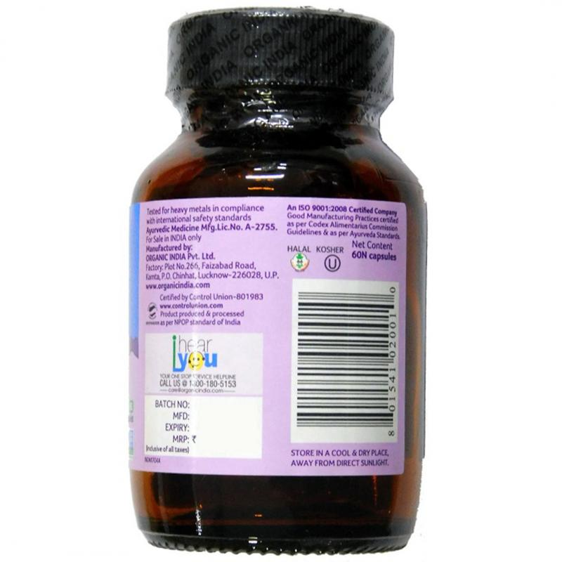 Buy Organic India Tulsi 60 Capsules For Anti-stress & Anti-ageing