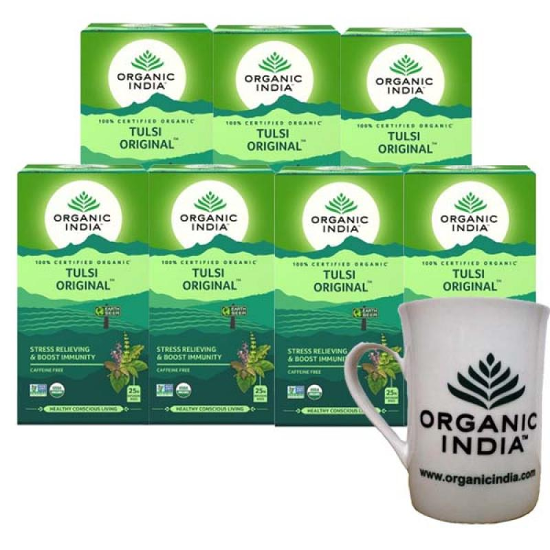 Tulsi Original 25 TBs 7 Boxes with Free Tea Mug