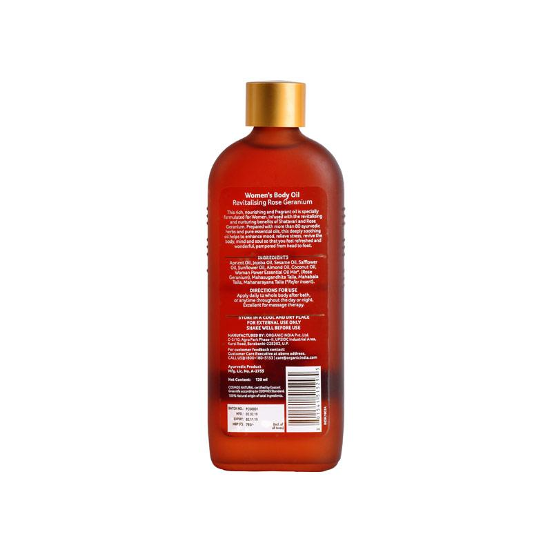 Womens Body Oil Revitalising Rose Geranium 120ml